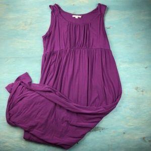 Boden Sz 18 Purple Smocked Jersey Maxi Dress
